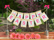 Happy Easter Banner Stand Holiday Centerpiece for Table