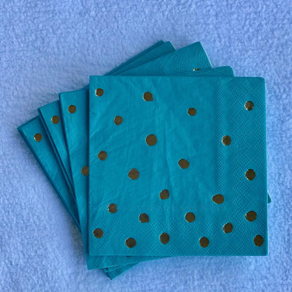 Aqua blue and gold napkins for husband birthday