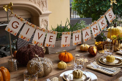 Thanksgiving banner perfect centerpiece for your holiday dinner table