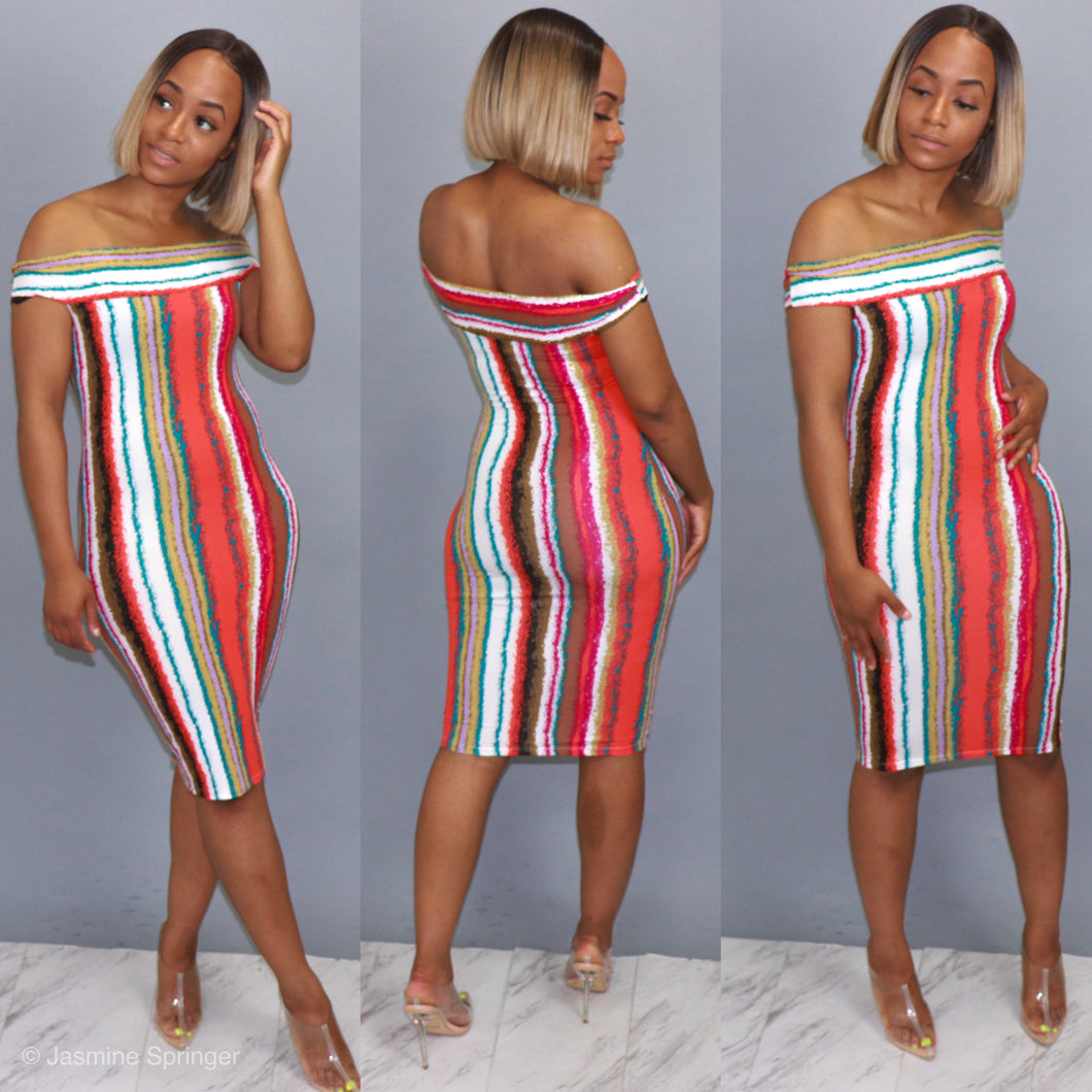Picasso Stripe Off The Shoulder Midi Dress