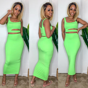 Cut Out 2 Piece Midi Set