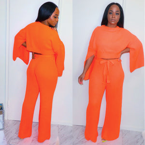 Classy But Sassy Neon Knit Pants Set