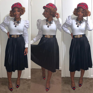Leatherette Pleated Skirt