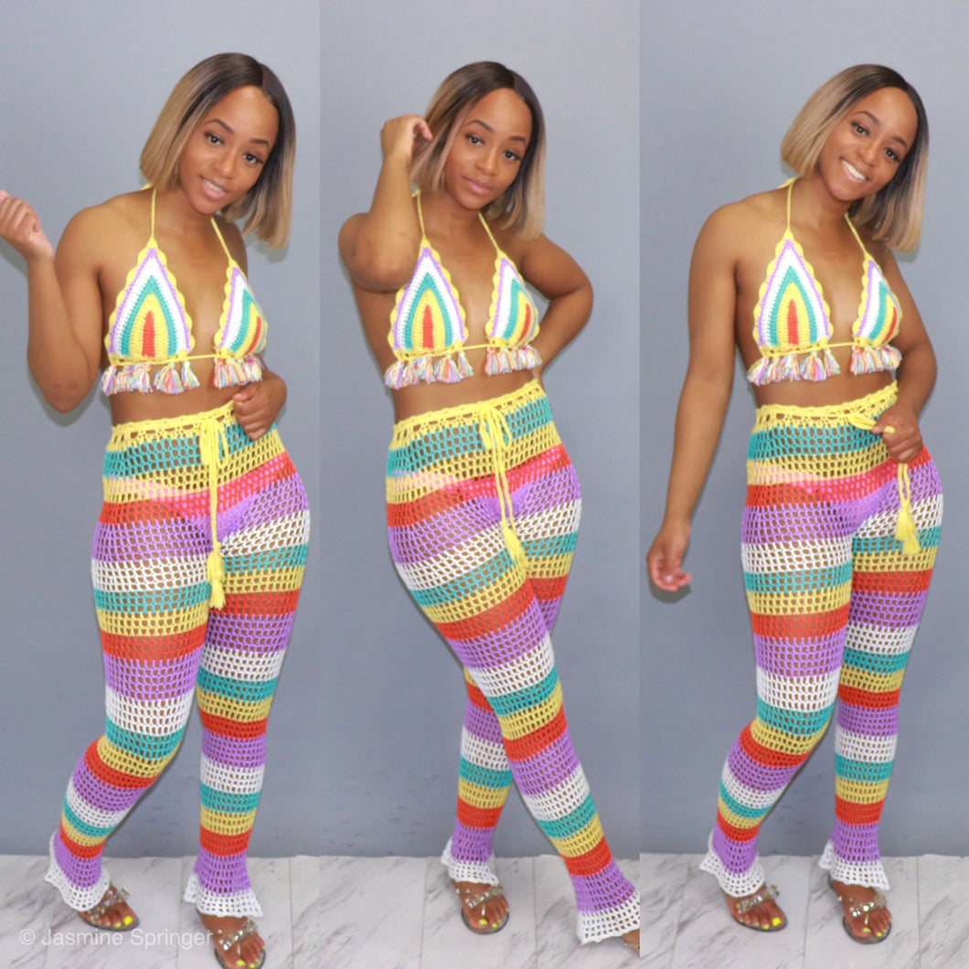 Beach Time Crochet Pants Set (Multi Stripe)