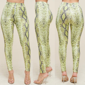 Neon Green Python Leggings