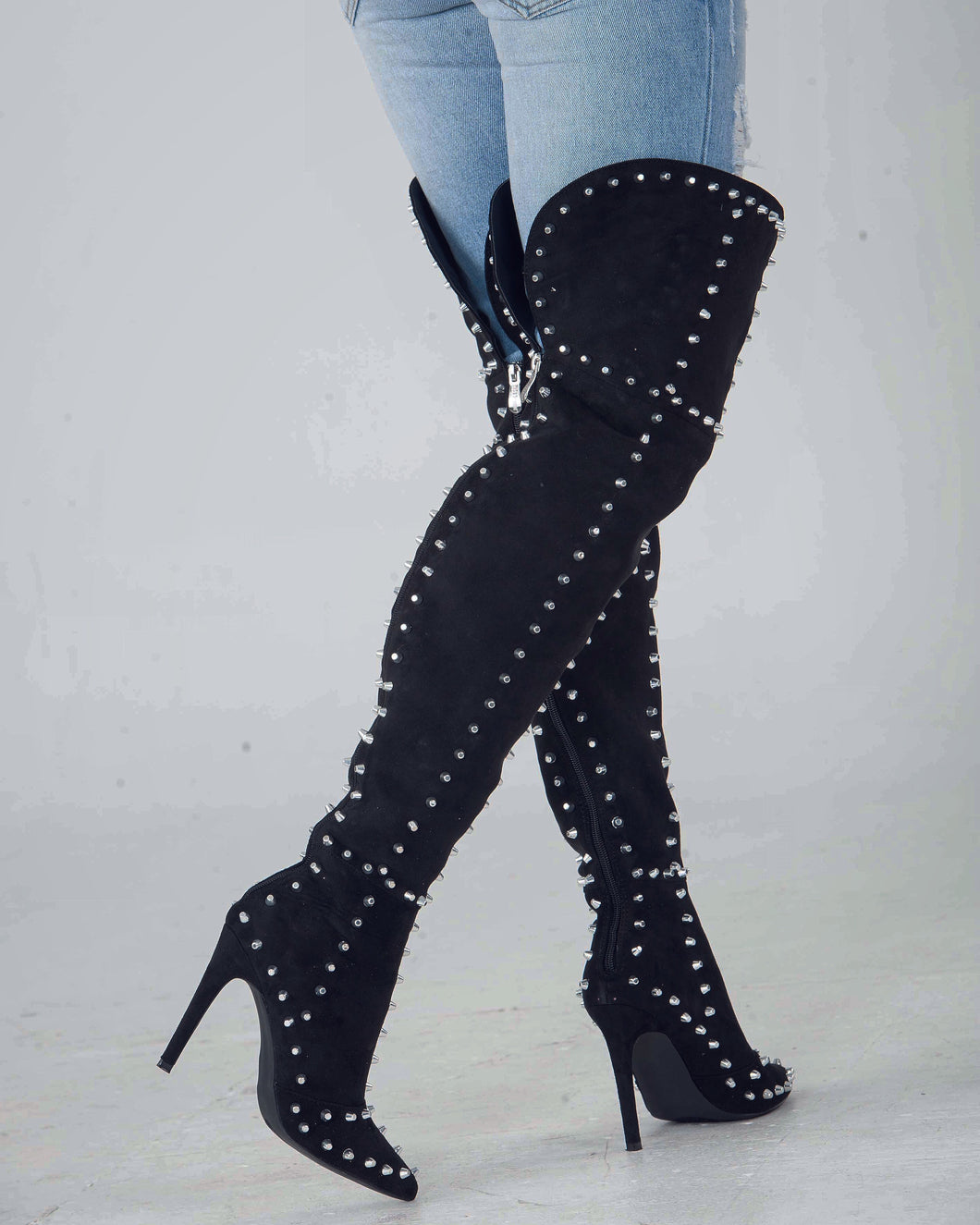 Studded Show-Stopper Thigh High Boots