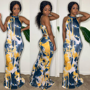 Tie Dye Temptations Maxi Dress (Blue)