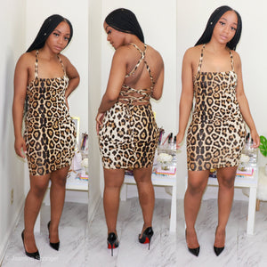 Cheetah Cross Back Mini Dress