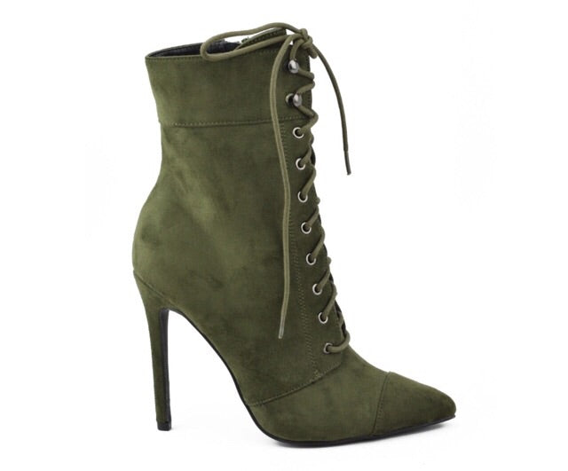 Kayla Olive Suede Bootie