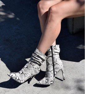 Sevina Snake Skin Slouched Bootie