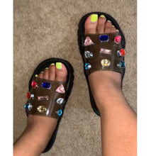 Diamond Studded Rainbow Slides