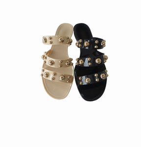 Sion Gold Studded Sandals