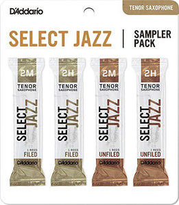 D'Addario Select Jazz Tenor Sax Reeds Sampler Pack of 4