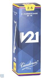 Vandoren v 21 Box of 5 Bass Clarinet Reeds