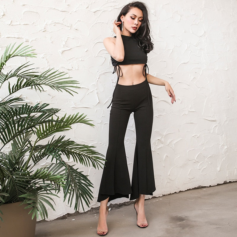Flared High Rise Pants
