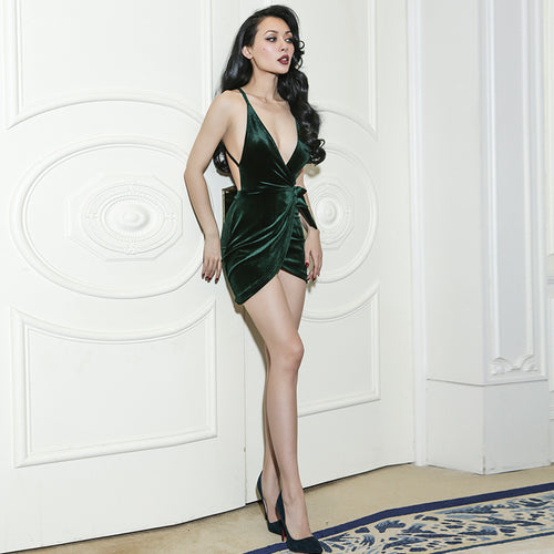 Emerald Velvet Mini Dress