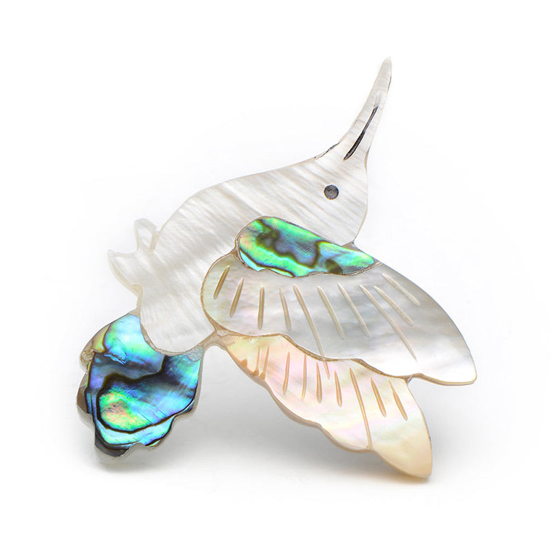 Hummingbird Shell Brooch