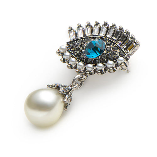 Crystal Eye Pearl Brooch
