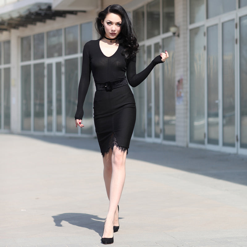 Black Retro Pencil Skirt