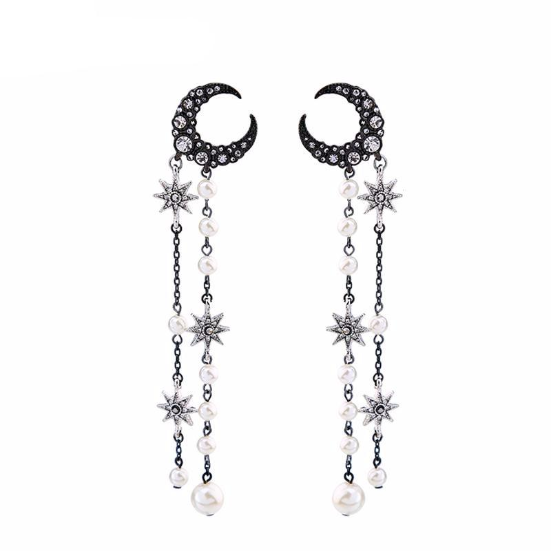 Star Moon Crystal Pearl Earrings