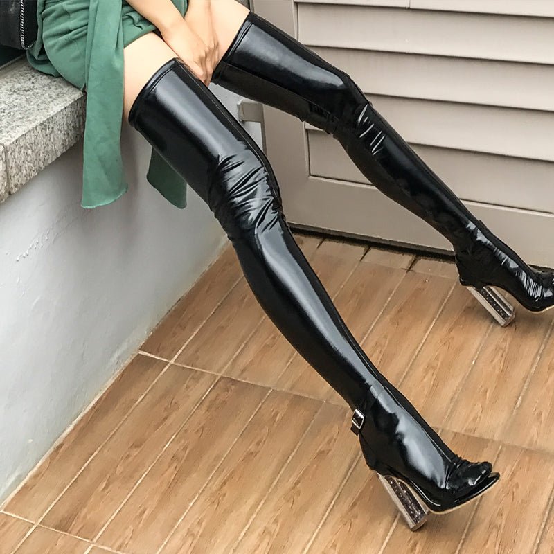 Glossy Vegan Leather Thigh-Highs