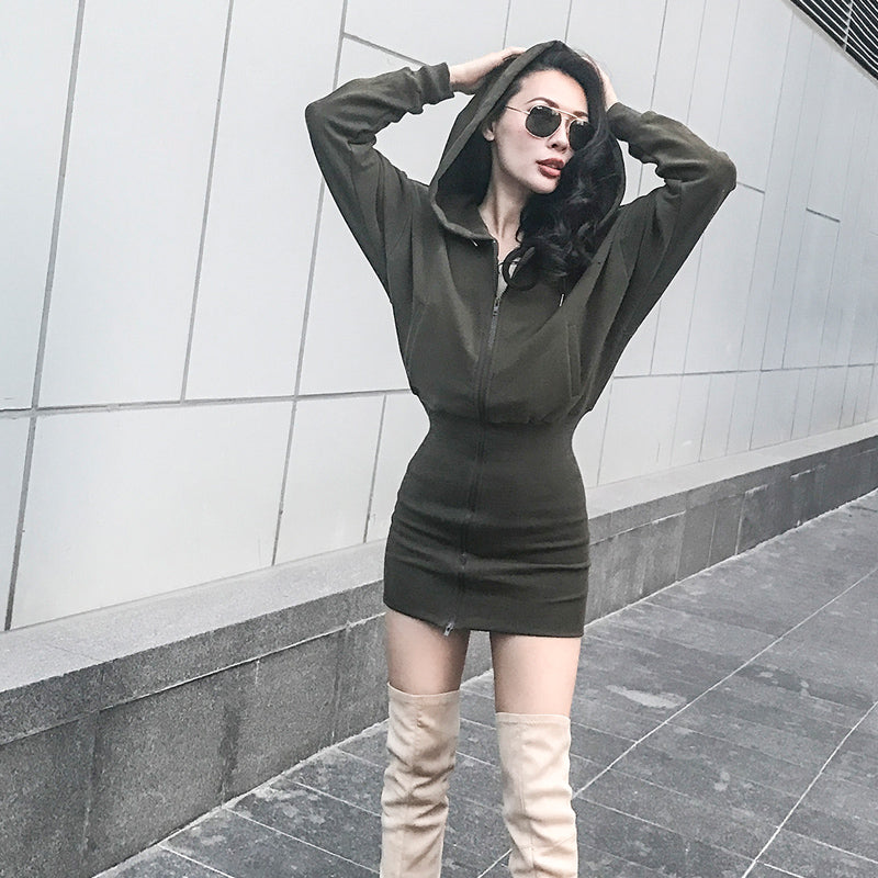Pompom Retro Hoodie Dress