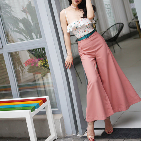 Pink Wide Leg Retro Pants