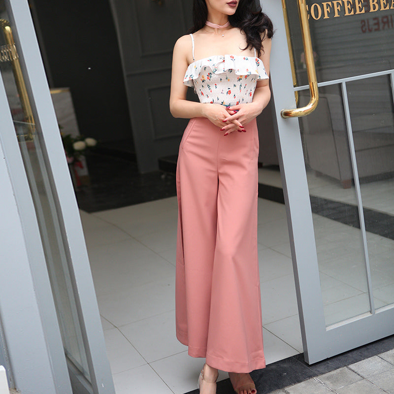 Peach Sateen Culottes