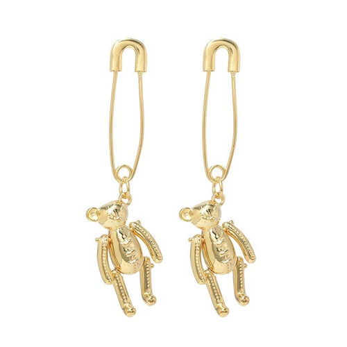 Teddy Bear Safety Pin Earrings