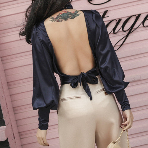 Open Back Wrap Blouse