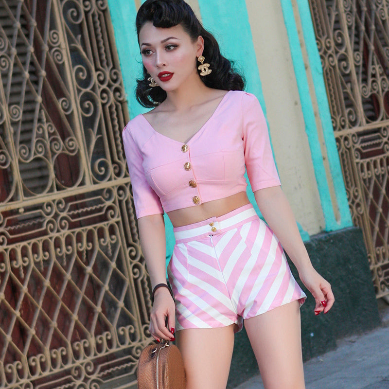 Vintage Pink Striped Shorts
