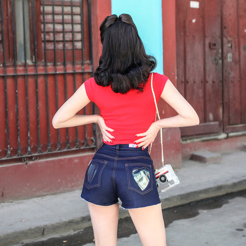 Lucite Heart Denim Shorts