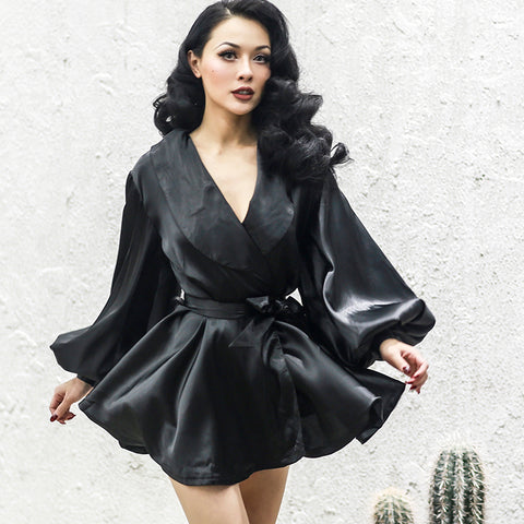 Velvet Draped Wrap Dress