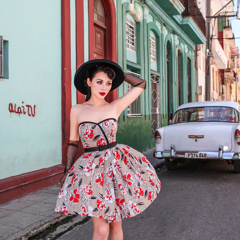 Retro Flower Print Strapless Dress