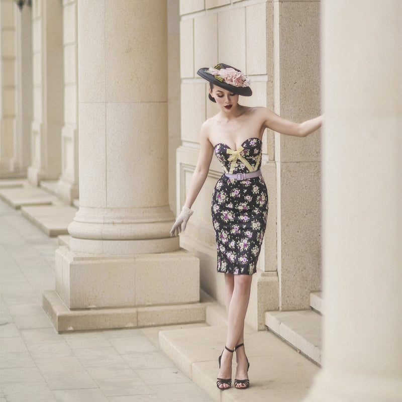 Flower Print  Retro Strapless Dress
