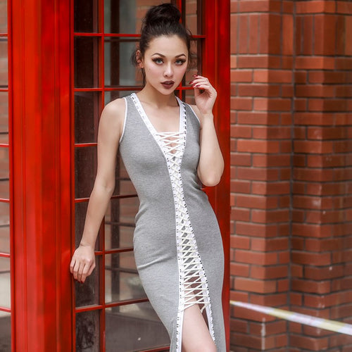 Grey Corset Retro Dress
