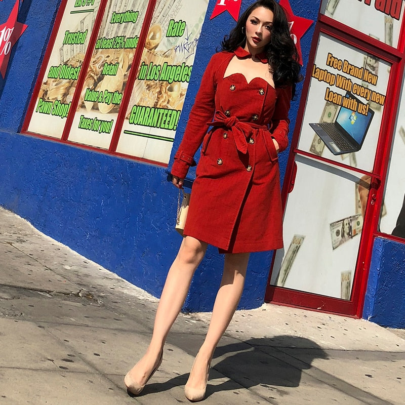 Crimson Cutout Trench Coat