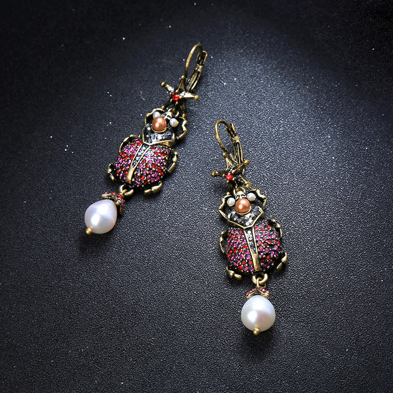 Beetle Rhinestone Pearl Earrings