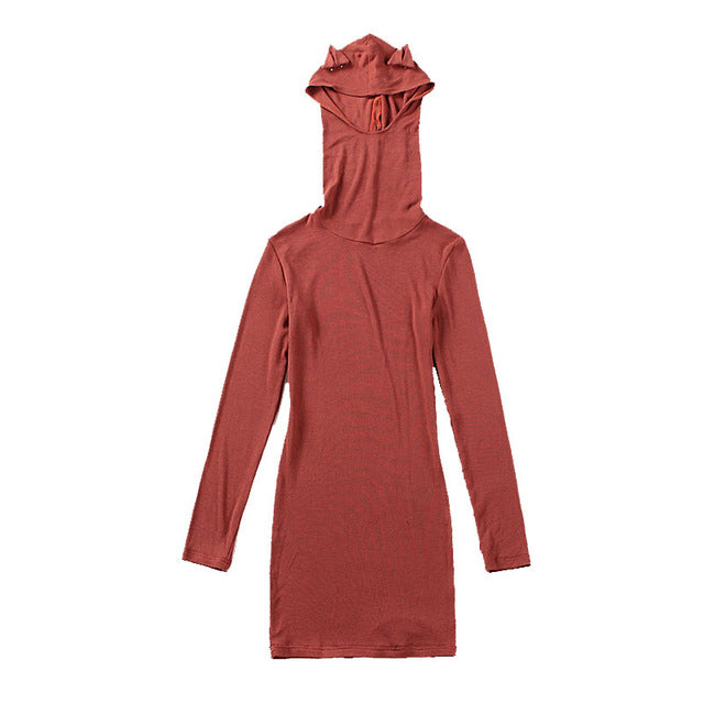 Cute Removable Cat Ears Hooded Dress