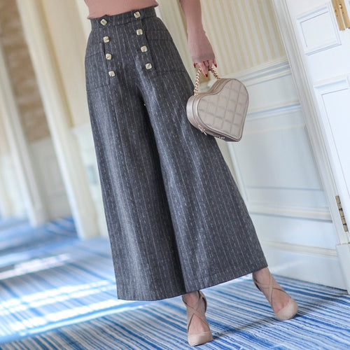 Striped Wool Wide Leg Pants