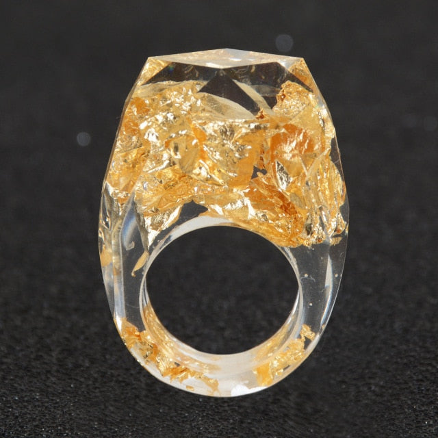 Gold or Silver Resin Cocktail Ring