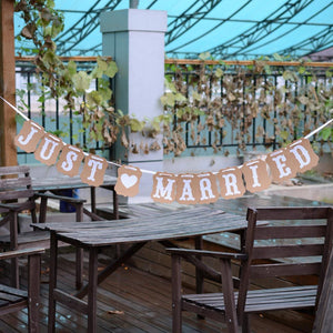 Just Married Card Stock Wedding Banner