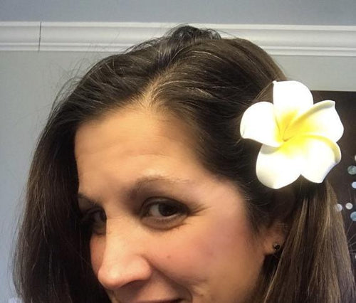Hawaiian Flower Hair Clip Yellow/White