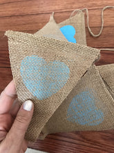 Blue Heart Wedding Burlap Banner