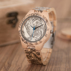 BoboBird Wooden Dragon Quartz Wristwatch