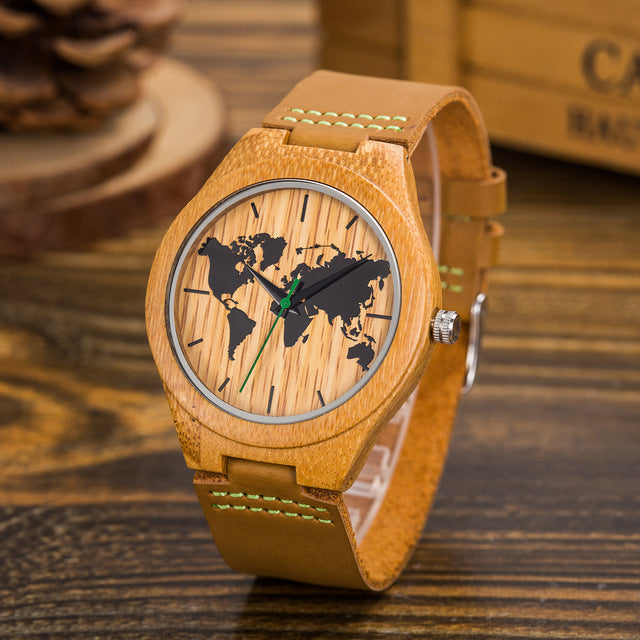 Bamboo World Map Design Quartz Wristwatch