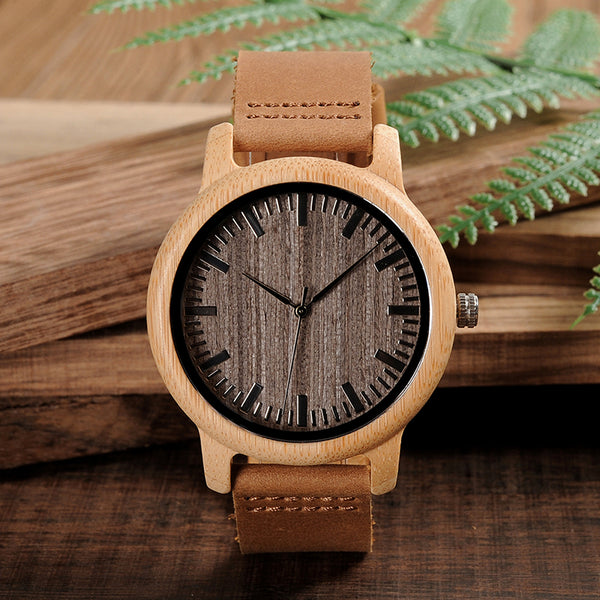 Modern Bamboo Case Genuine Leather Strap Quartz Wristwatch
