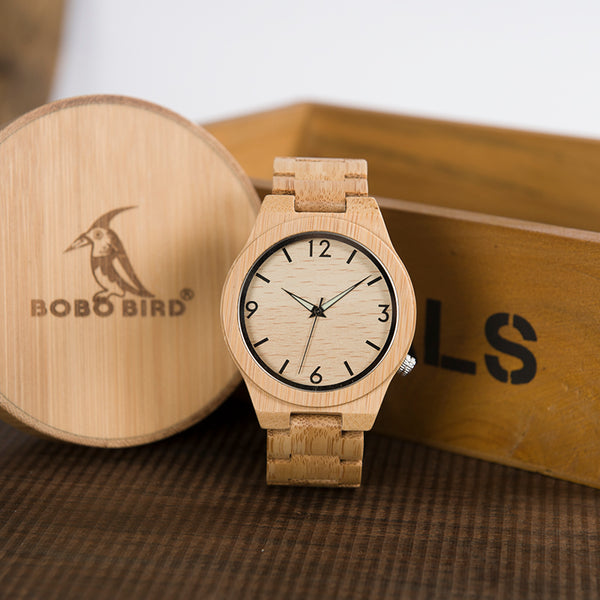 Simple Design Light Bamboo Quartz Wristwatch