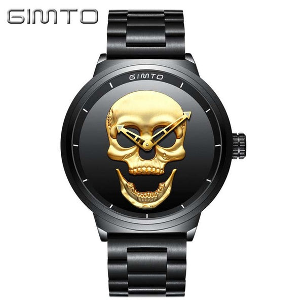 Golden Skull Design Military Grade Stainless Steel Quartz Wristwatch