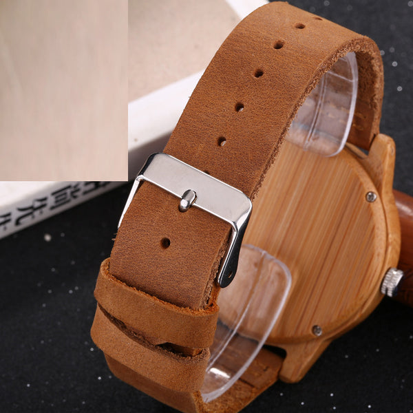 Oukaqi Bamboo Quartz Wristwatch